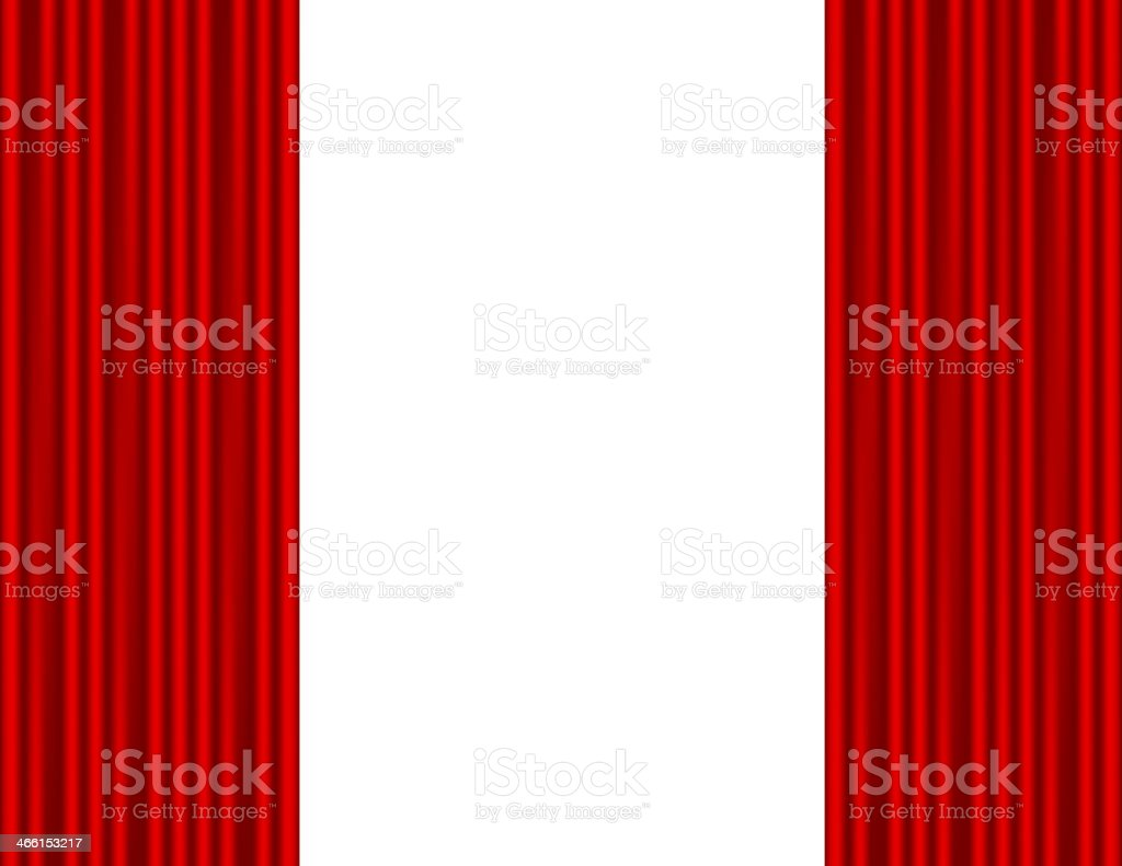 Theater stage with red curtain white background vector art illustration