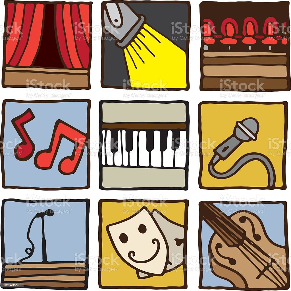 Theatre and Performance Icons royalty-free stock vector art