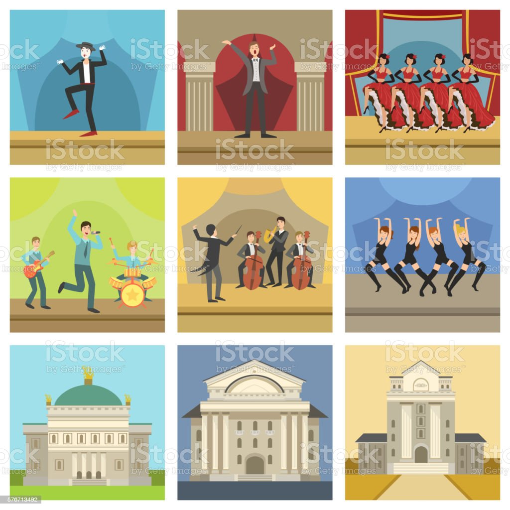 Theatre Buildings And Stage Perfomances Icons vector art illustration