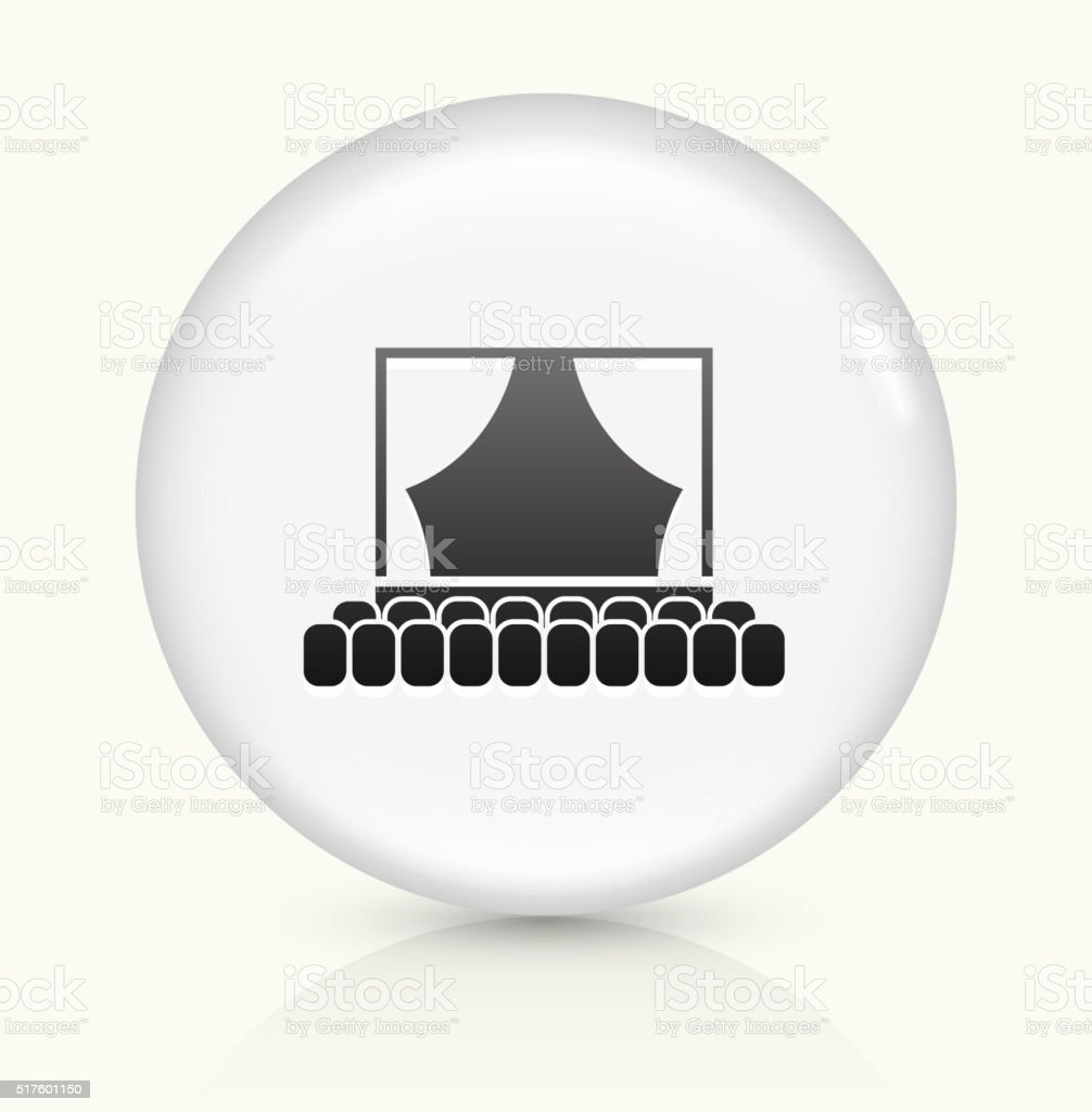 Theatre icon on white round vector button vector art illustration