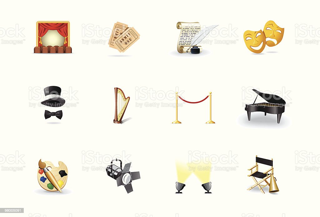 Theatre icons royalty-free stock vector art