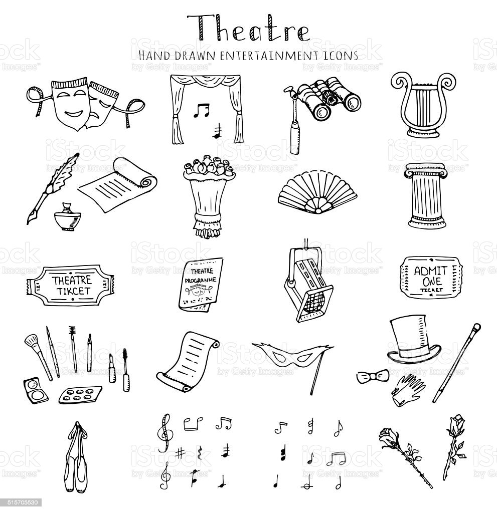 Theatre set vector art illustration