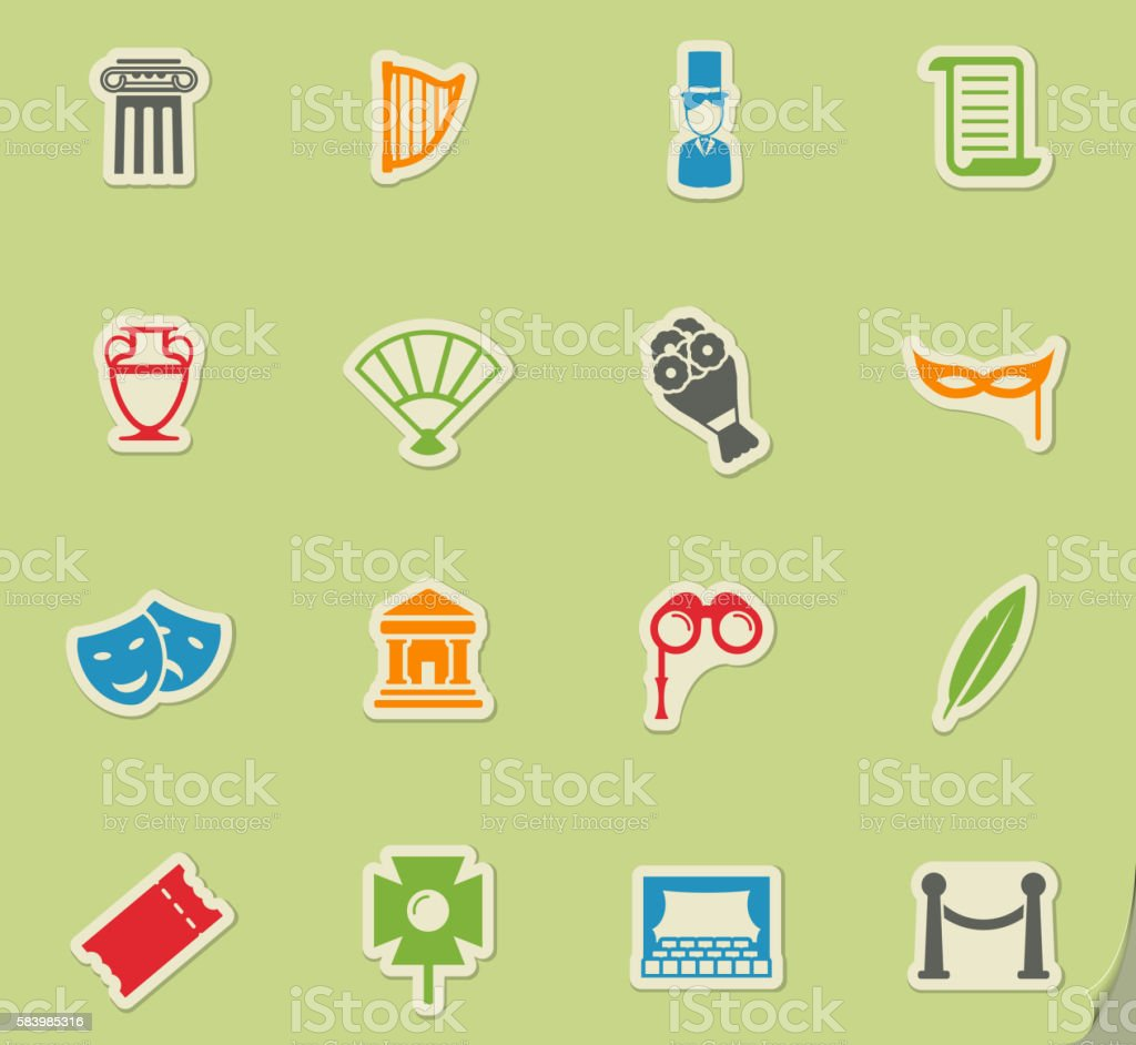Theatre simply icons vector art illustration