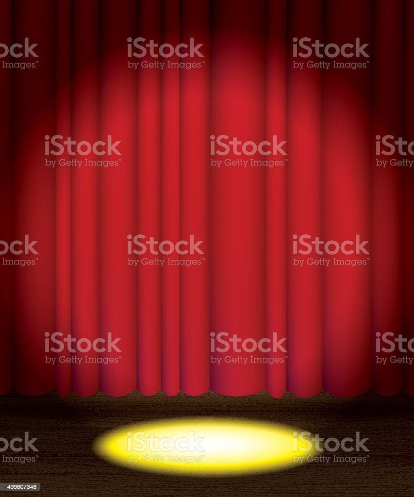 Theatre Stage Curtain with Spotlight Background vector art illustration