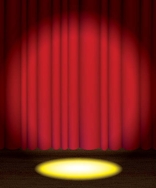Theatre Stage Curtain With Spotlight Background Stock Vector Art More Images Of 2015 499807348