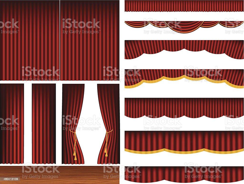 Theatre Stage Curtains Set vector art illustration