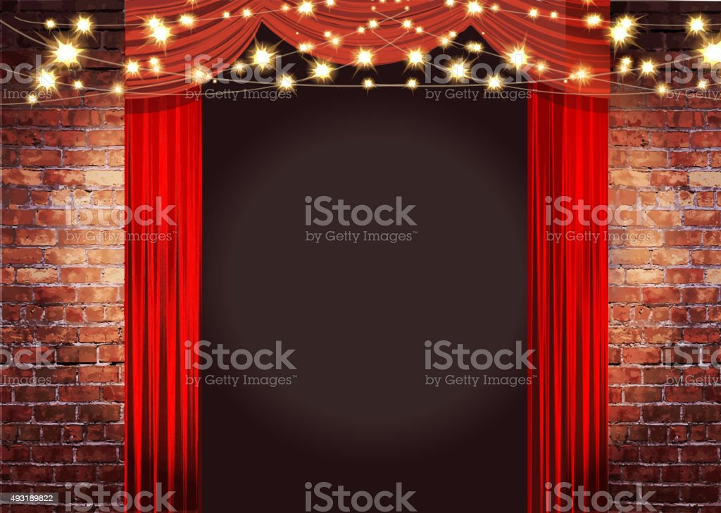 Theatre Stage Rustic brick wall with elegant string lights, curtains vector art illustration