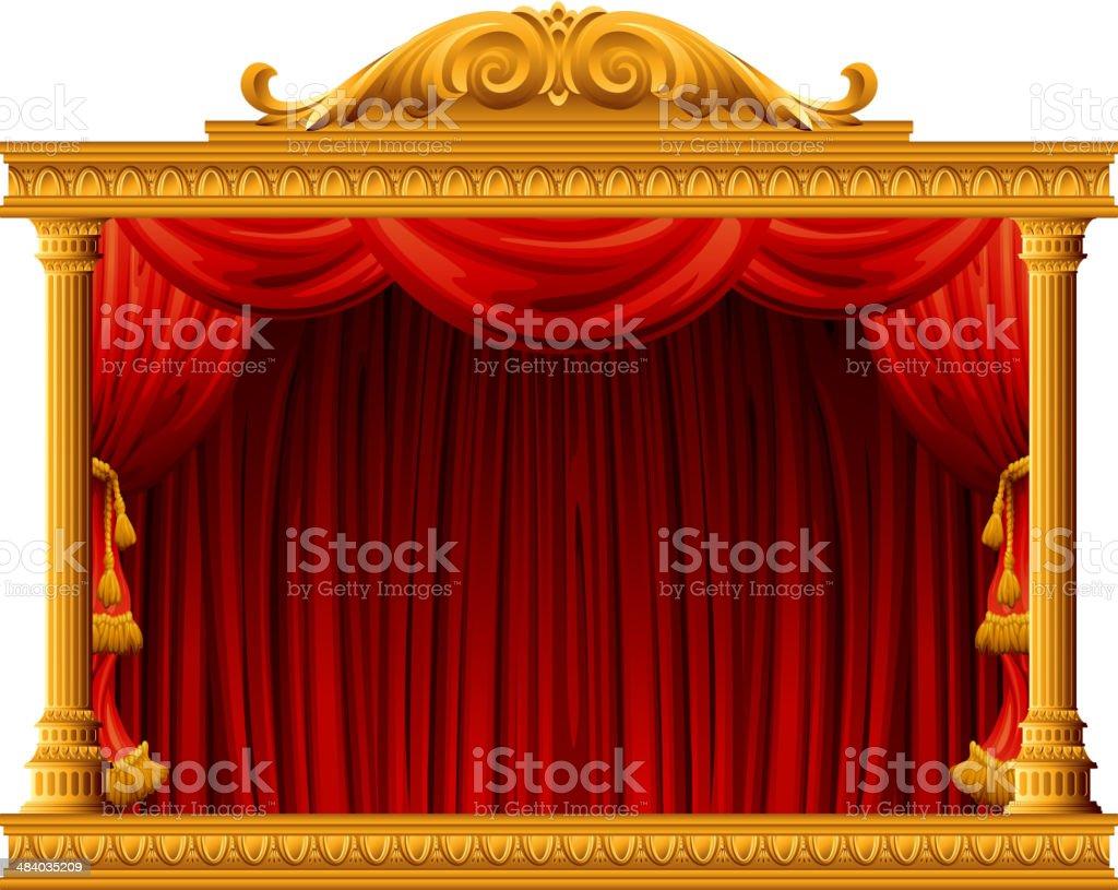 theatre stage vector art illustration