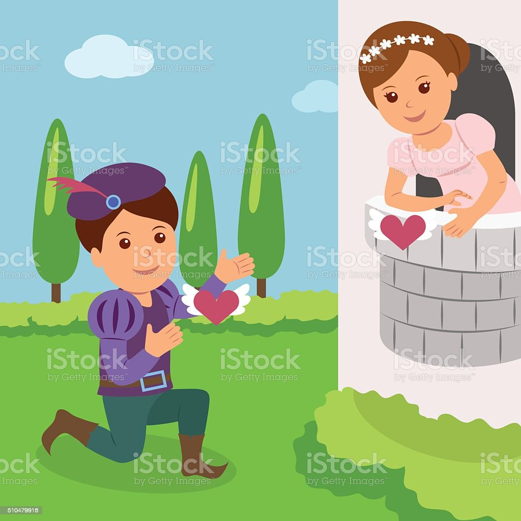 Theatrical performance of Romeo and Juliet. Concept World Theatre Day vector art illustration