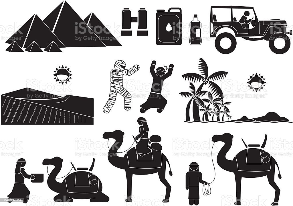 the-desert vector art illustration