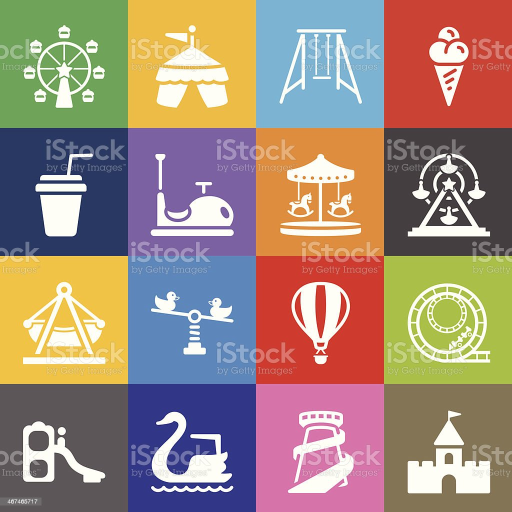 Theme Park Icons and Color Background vector art illustration