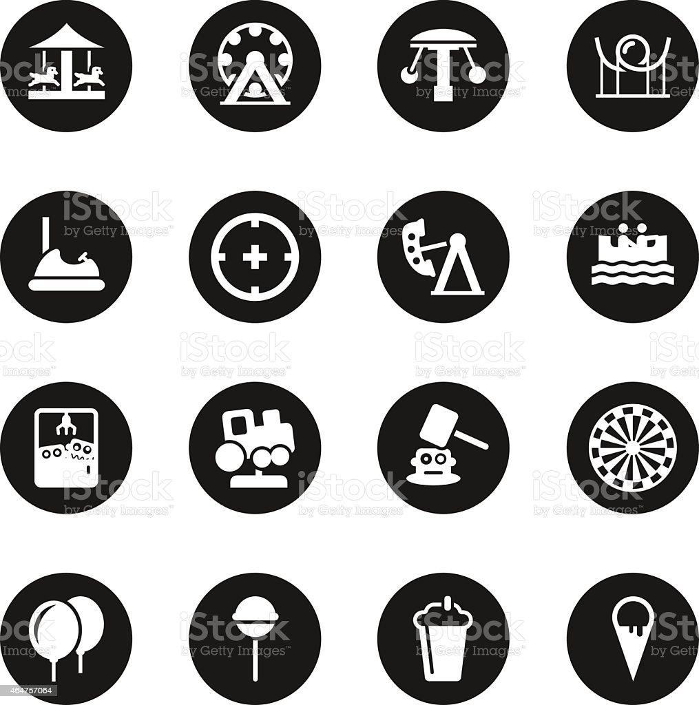 Theme Park Icons - Black Circle Series vector art illustration