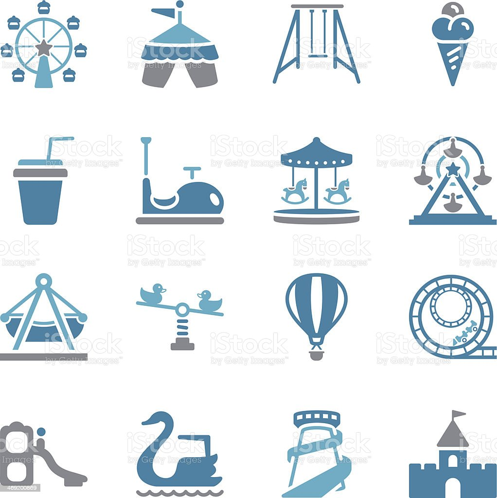 Theme Park Icons | Color vector art illustration
