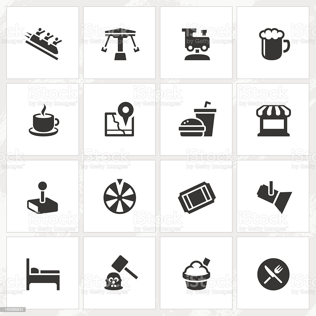 Theme Park Icons vector art illustration