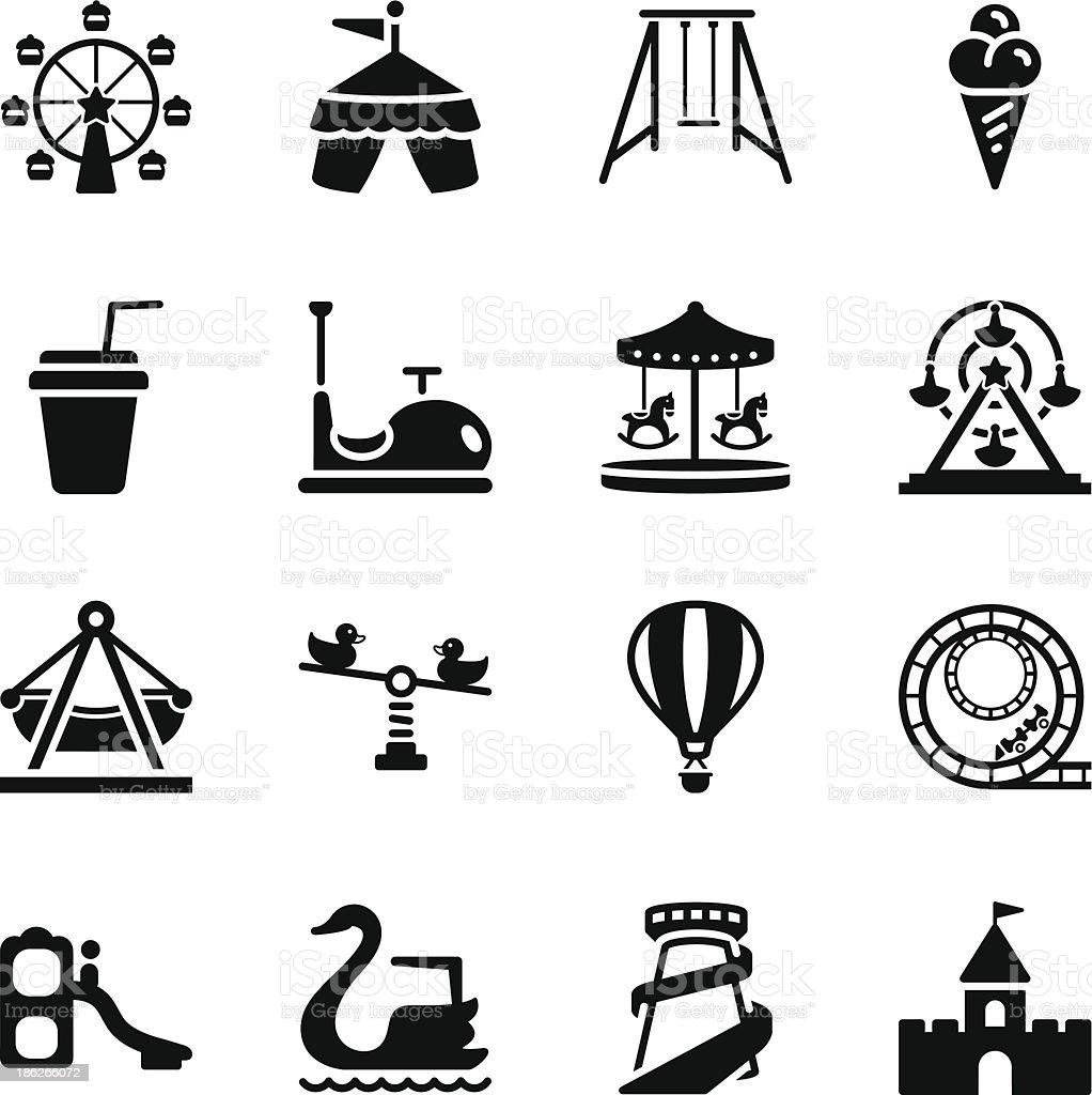 Theme Park Icons vector art illustration