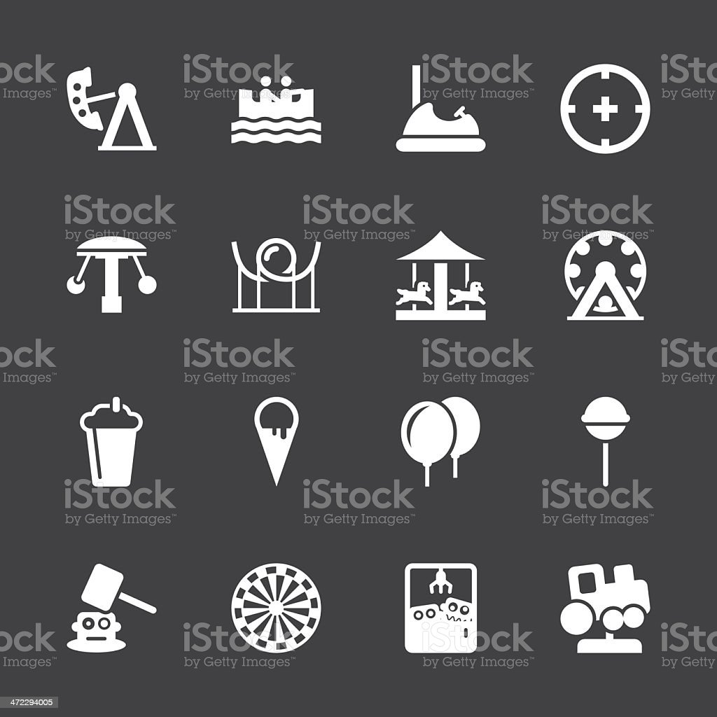 Theme Park Icons - White Series | EPS10 royalty-free stock vector art