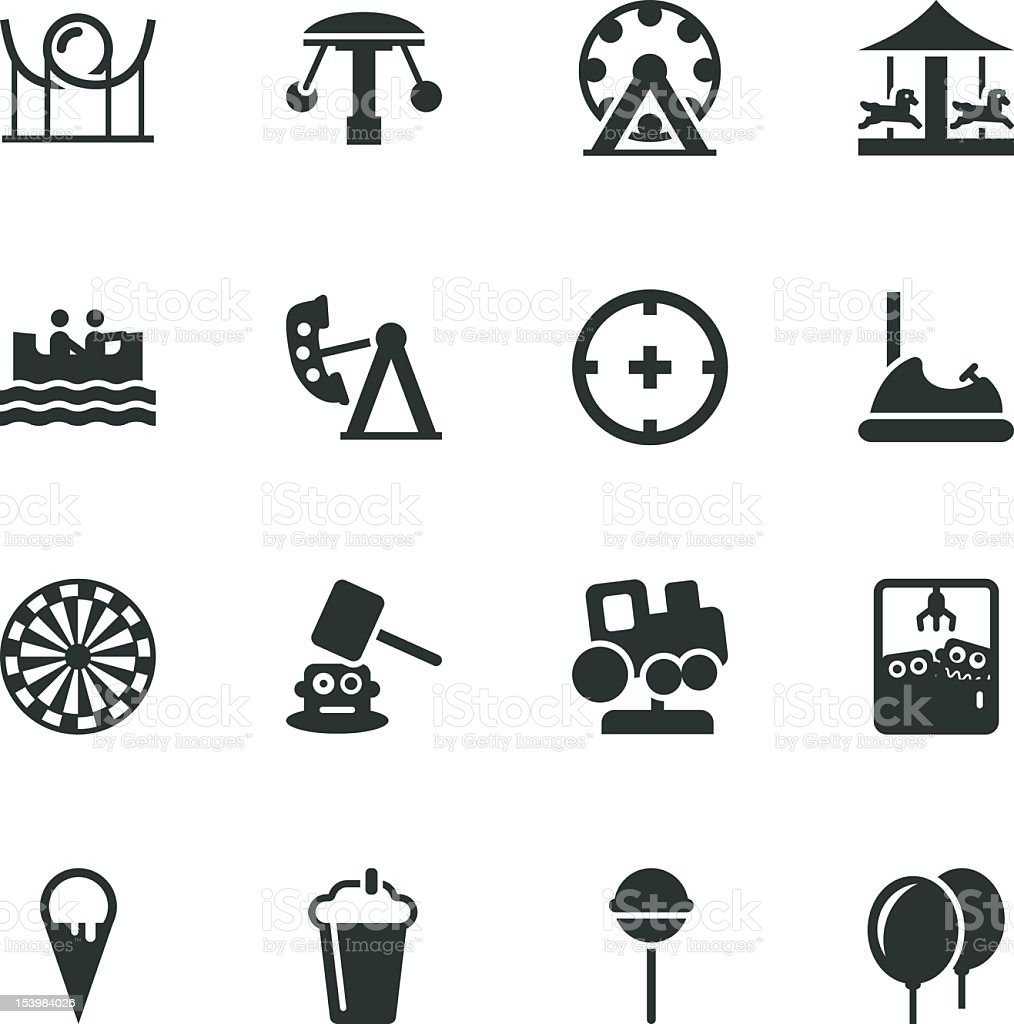 Theme Park Silhouette Icons vector art illustration