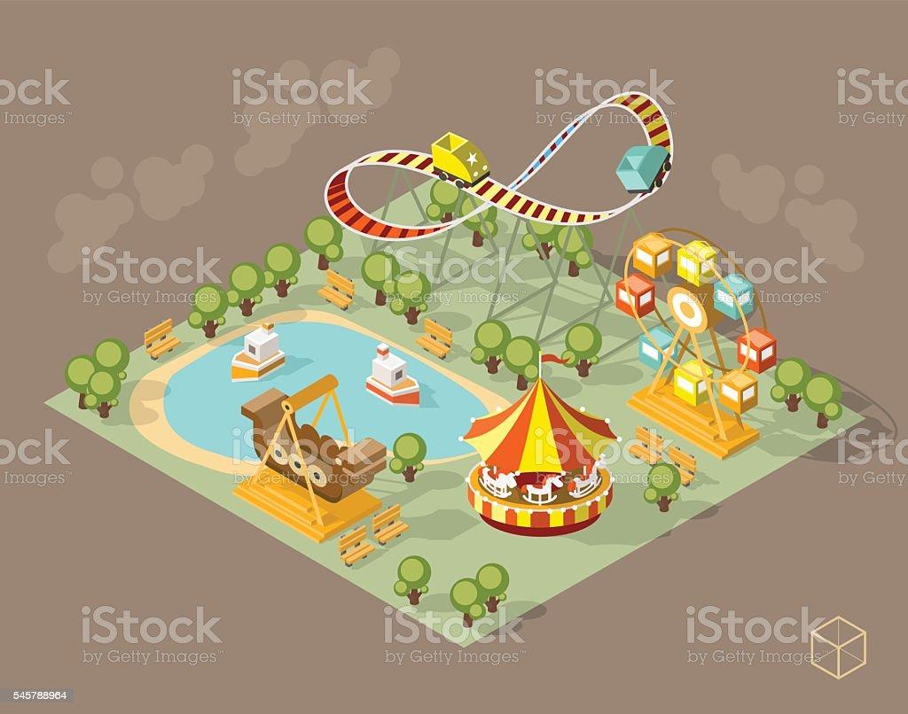 Theme Park with Shadows on Dark Background. vector art illustration