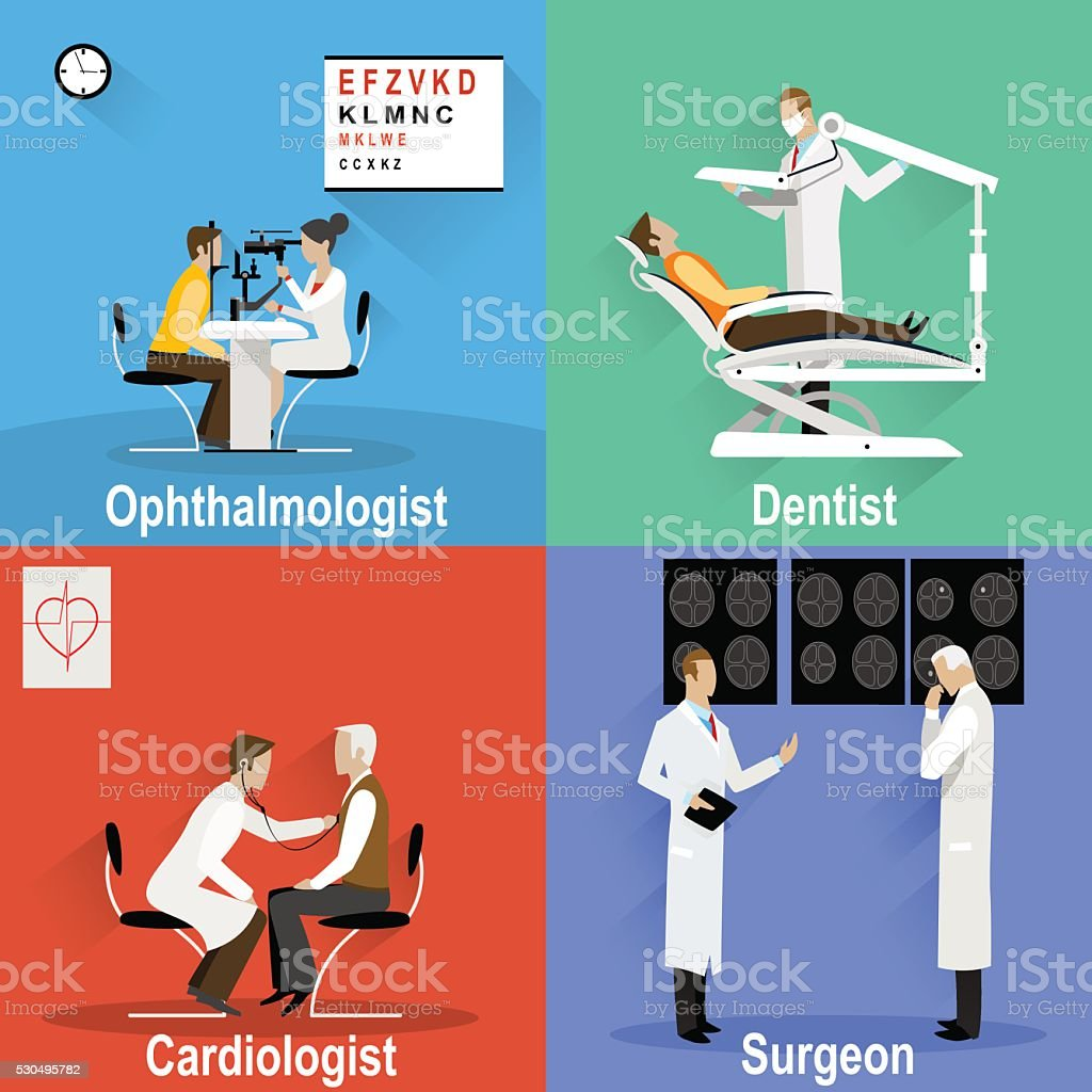 Themed pictures on the topic of medical and health care vector art illustration