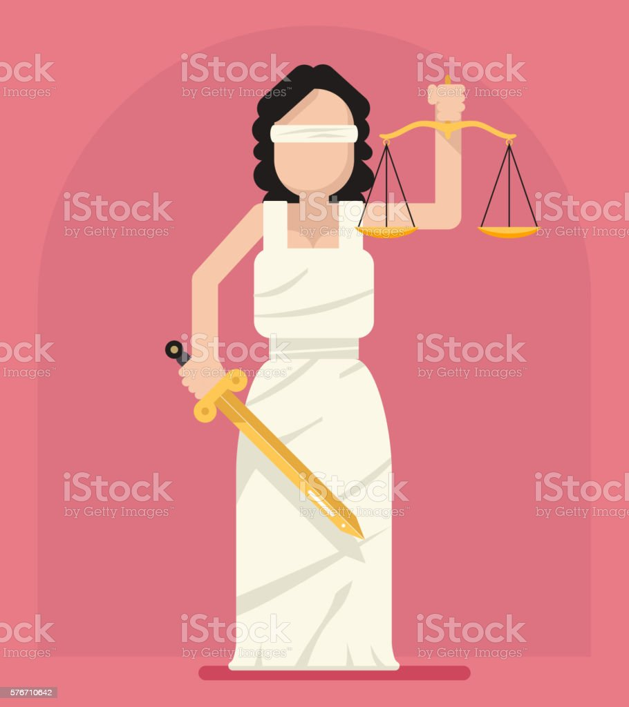 Themis Femida with scales and sword symbol of law justice vector art illustration