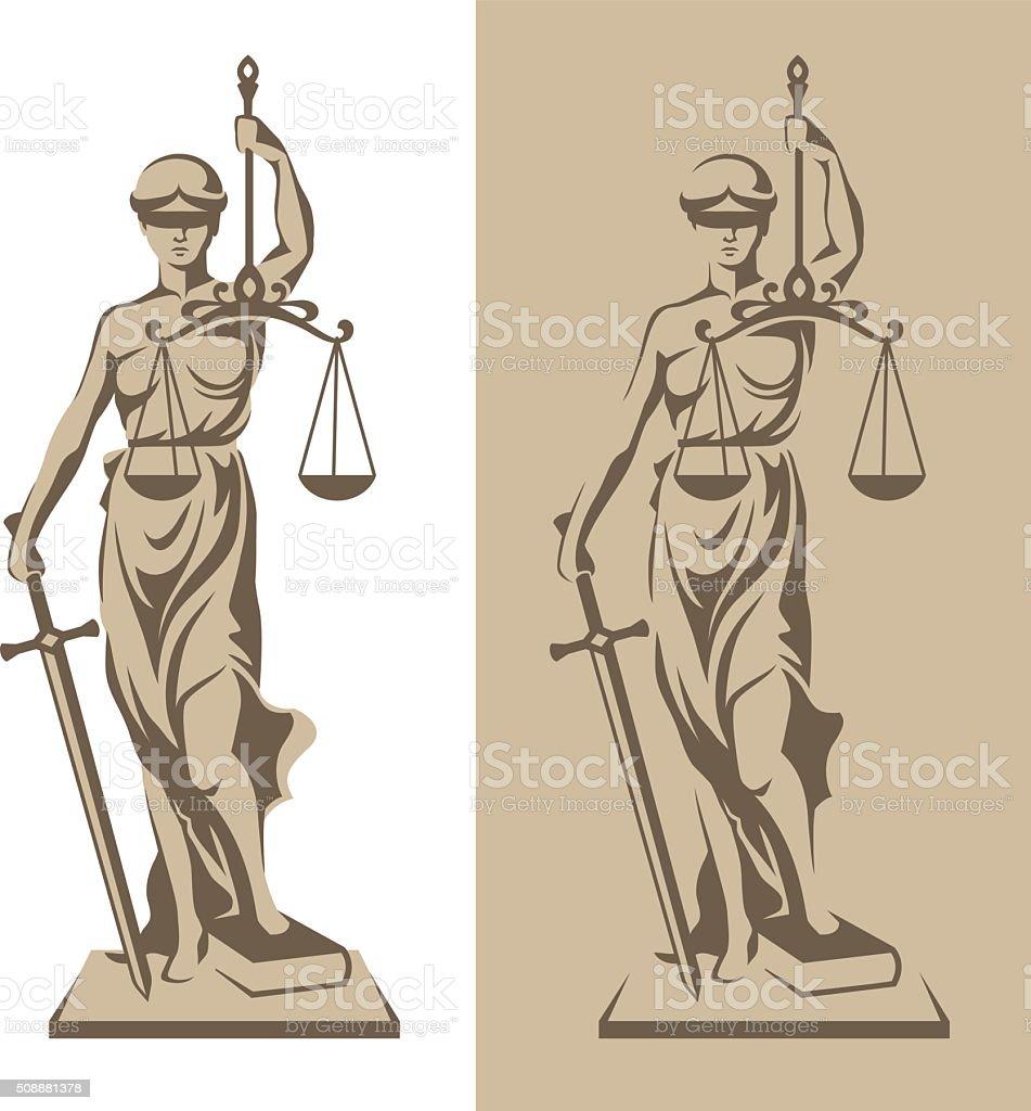 Themis statue illustration vector art illustration