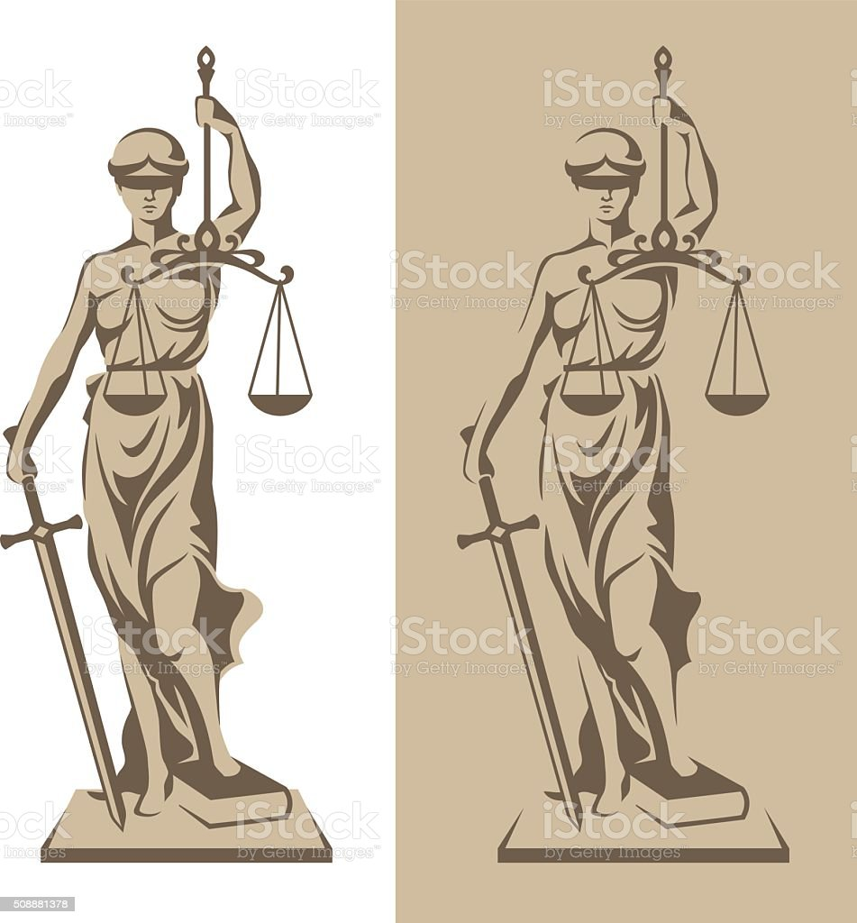 Themis statue illustration vector art illustration