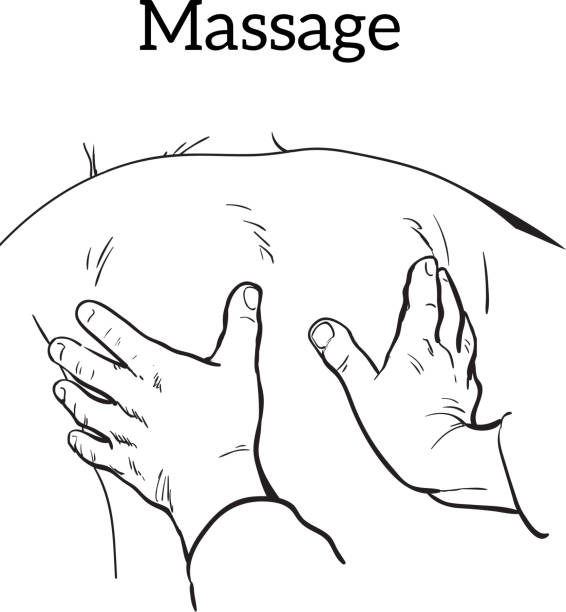 therapeutic manual massage medical therapy vector art illustration