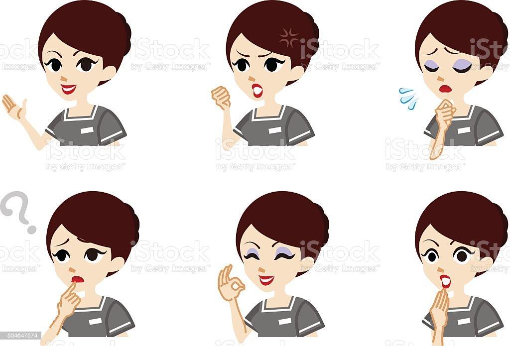 Therapist Facial expression set vector art illustration