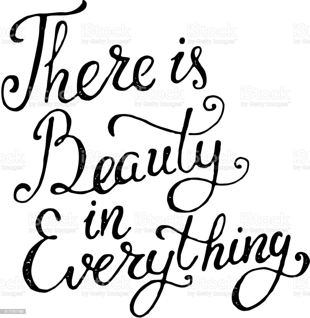 There is beauty in everything. Hand draw  phrase vector art illustration