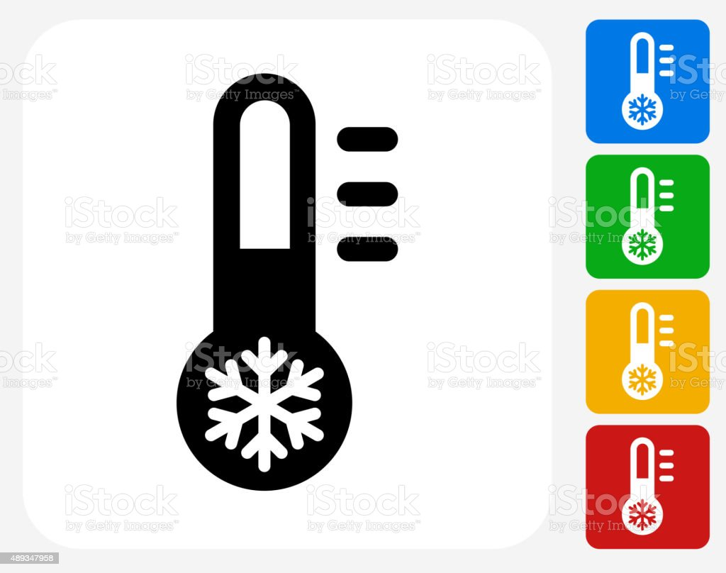 Thermometer Icon Flat Graphic Design vector art illustration