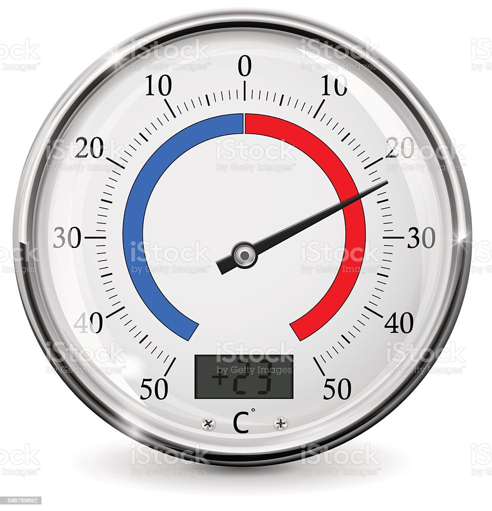Thermometer. Round outdoor temperature gauge. Warm weather vector art illustration