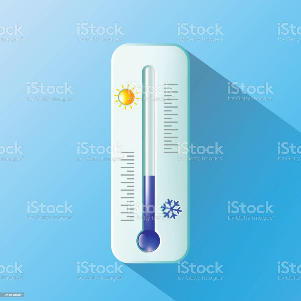A thermometer, with a sun and a snowflake, on a blue wall vector art illustration