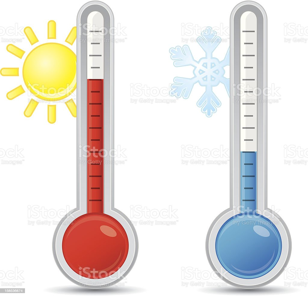 Thermometer with scale royalty-free stock vector art