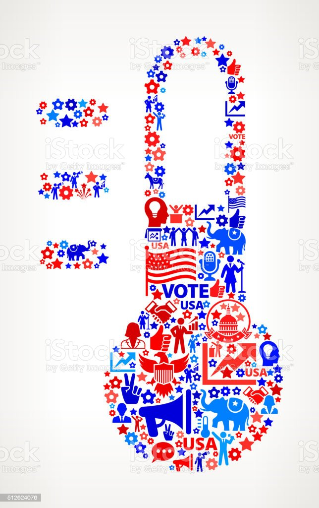 ThermometerVote and Elections USA Patriotic Icon Pattern vector art illustration