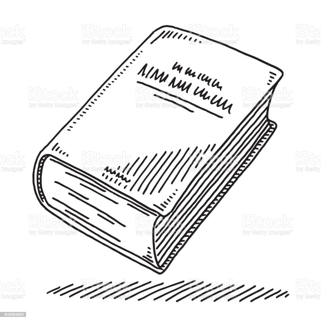 Thick Book Drawing vector art illustration