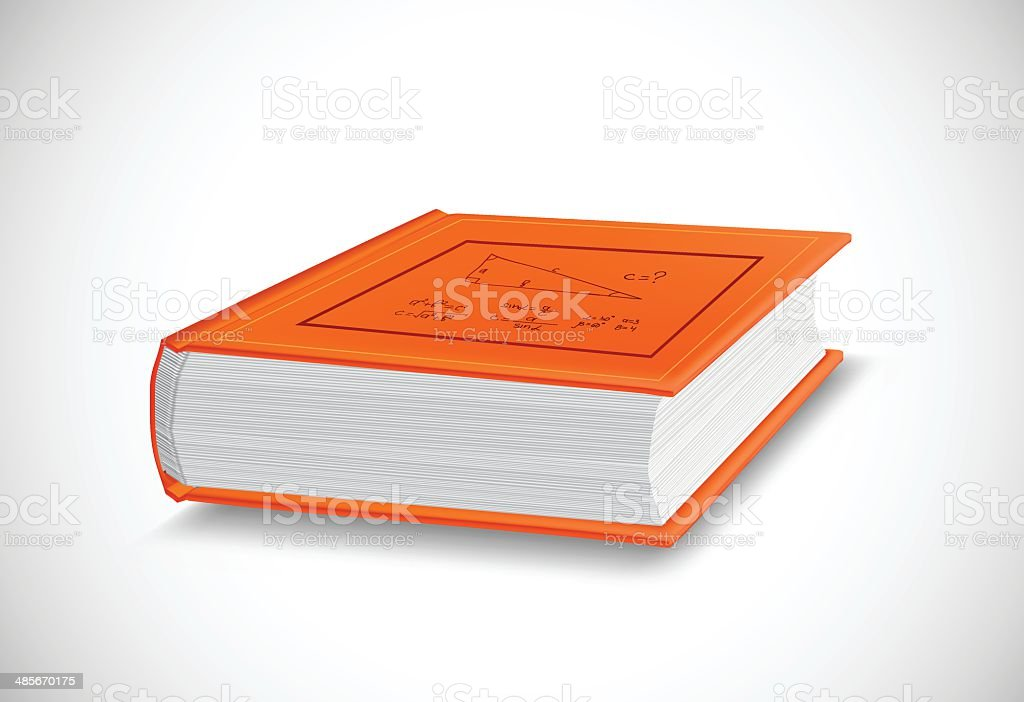 Thick orange book isolated on white background. Vector vector art illustration
