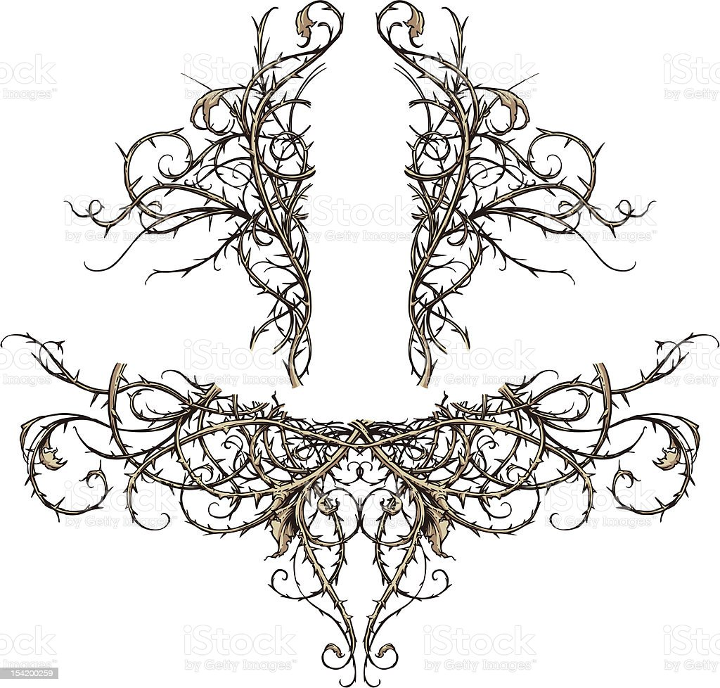 Thicket Scroll Design Accents vector art illustration