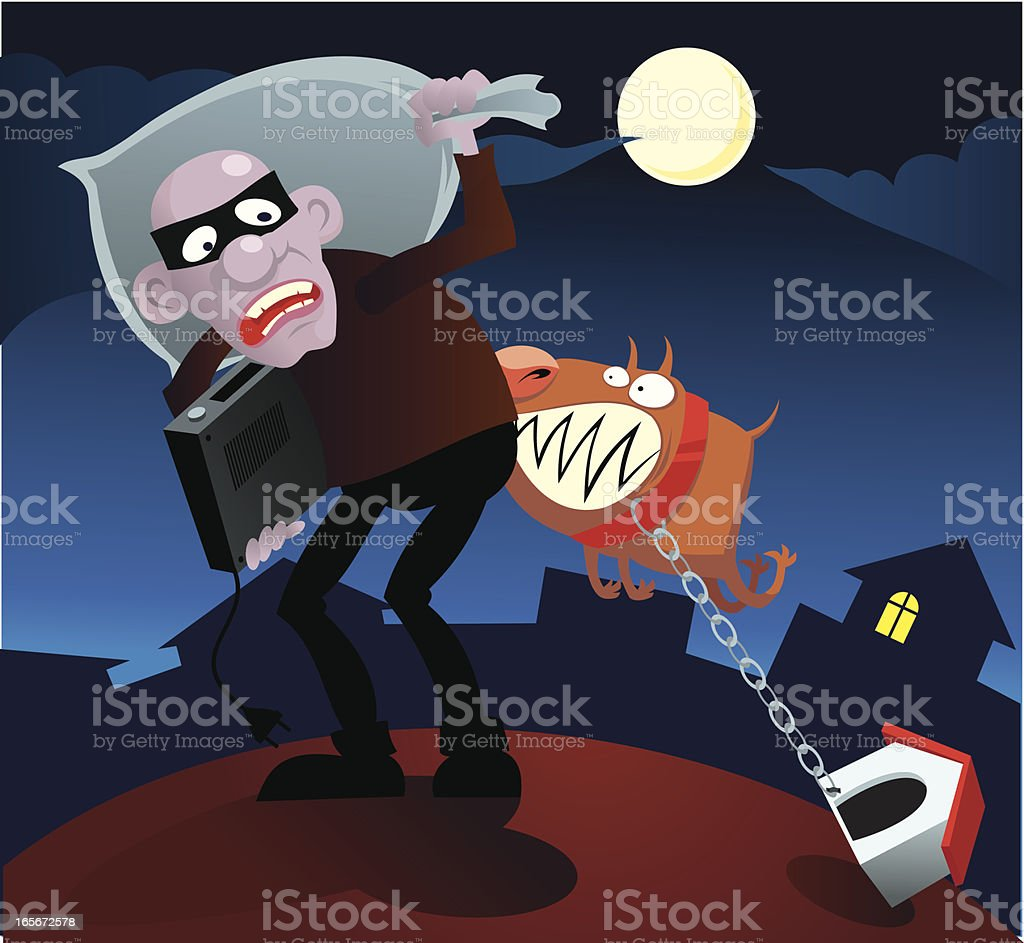 Thief and dog royalty-free stock vector art