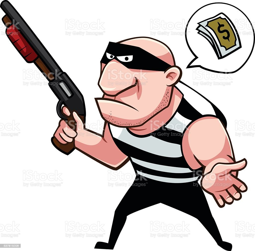 Thief asking for some money royalty-free stock vector art