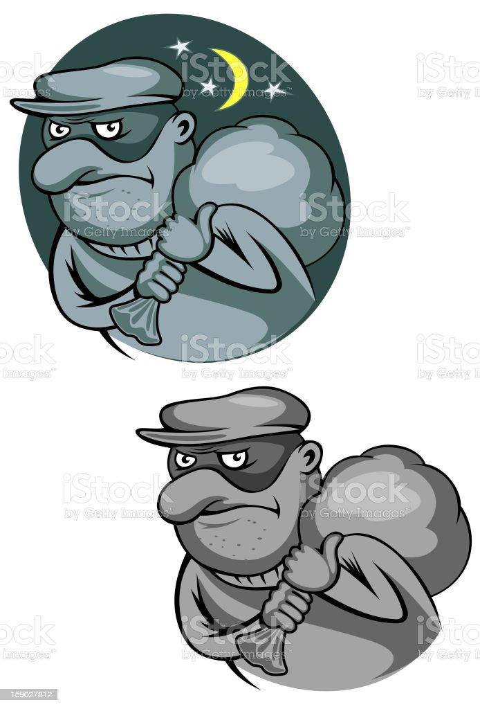 Thief bandit in mask royalty-free stock vector art