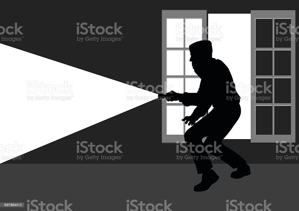 Thief break into the house through window vector art illustration