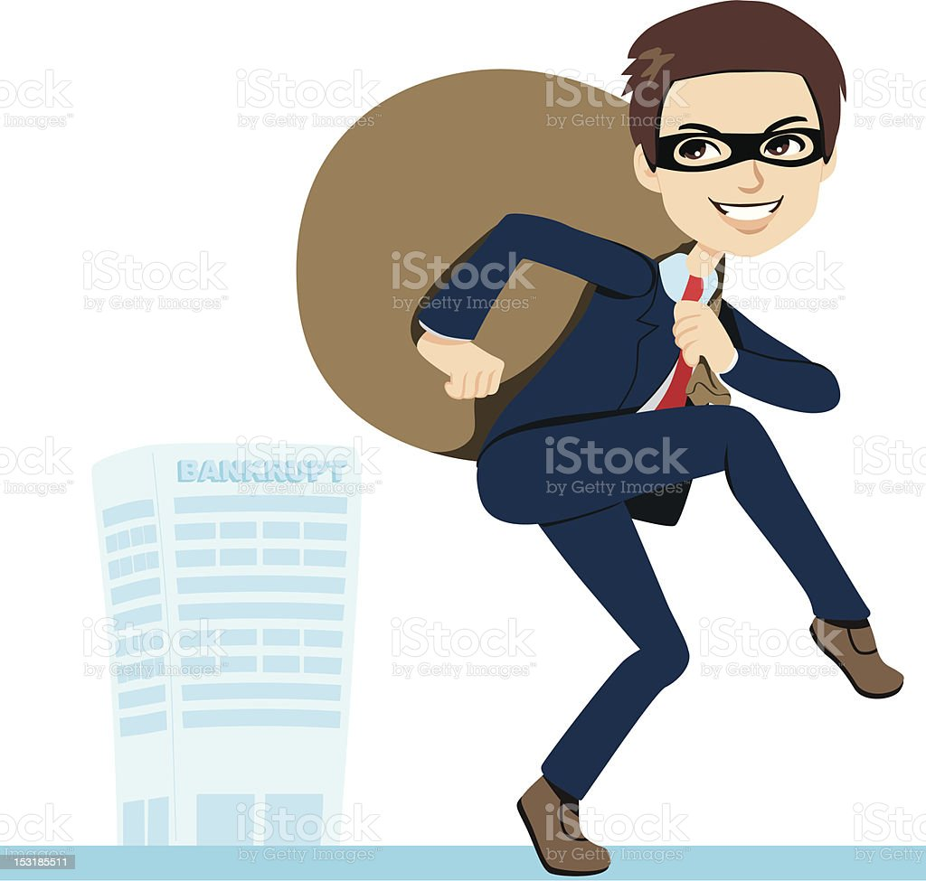 Thief Businessman Bankruptcy royalty-free stock vector art