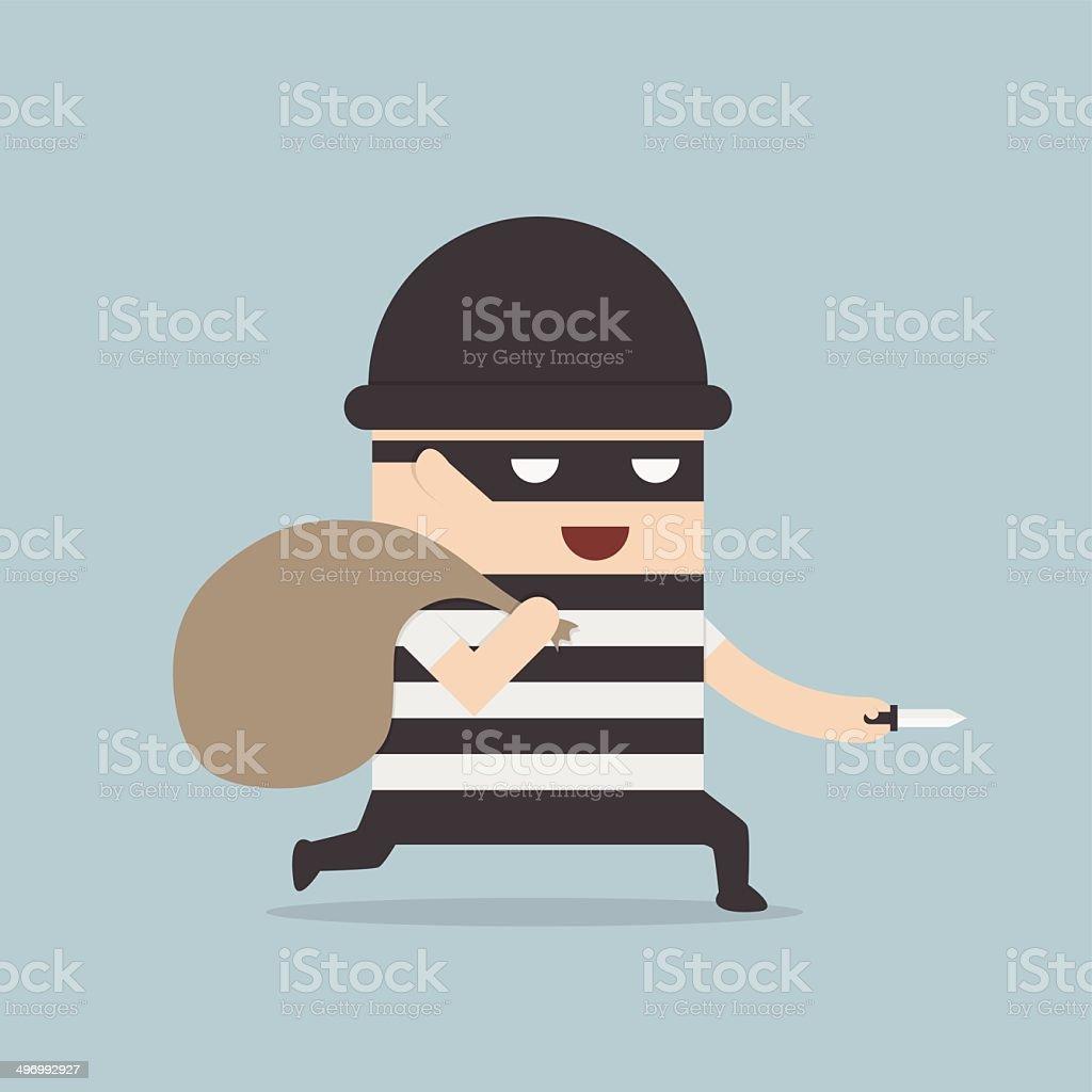 Thief cartoon vector art illustration