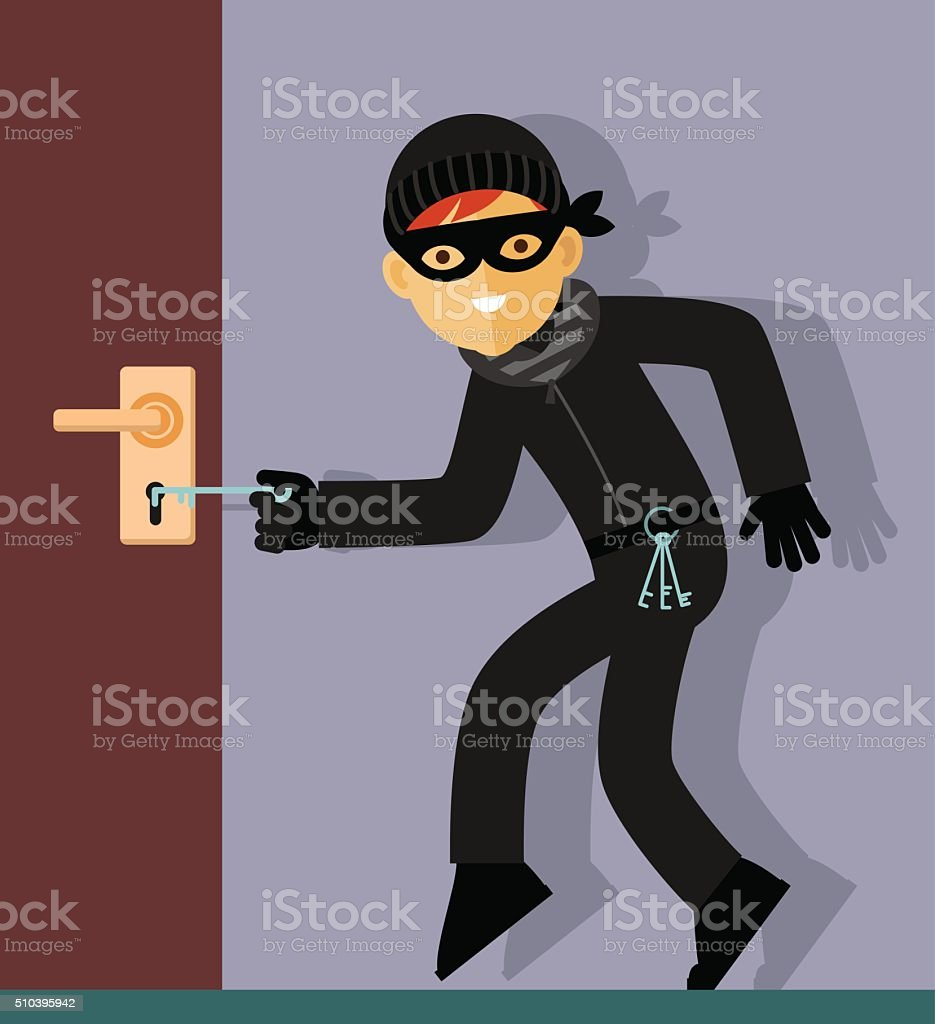 Thief character in steal action vector art illustration