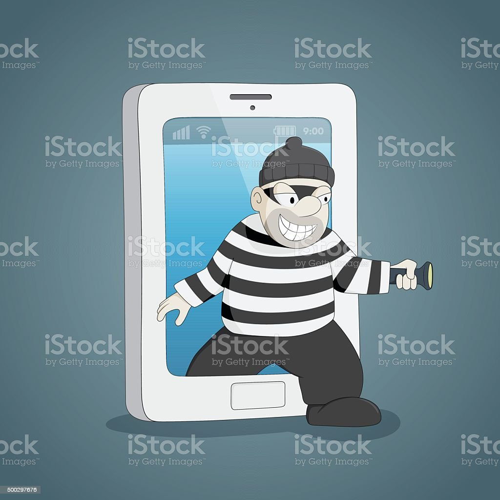Thief come out from mobile. vector art illustration
