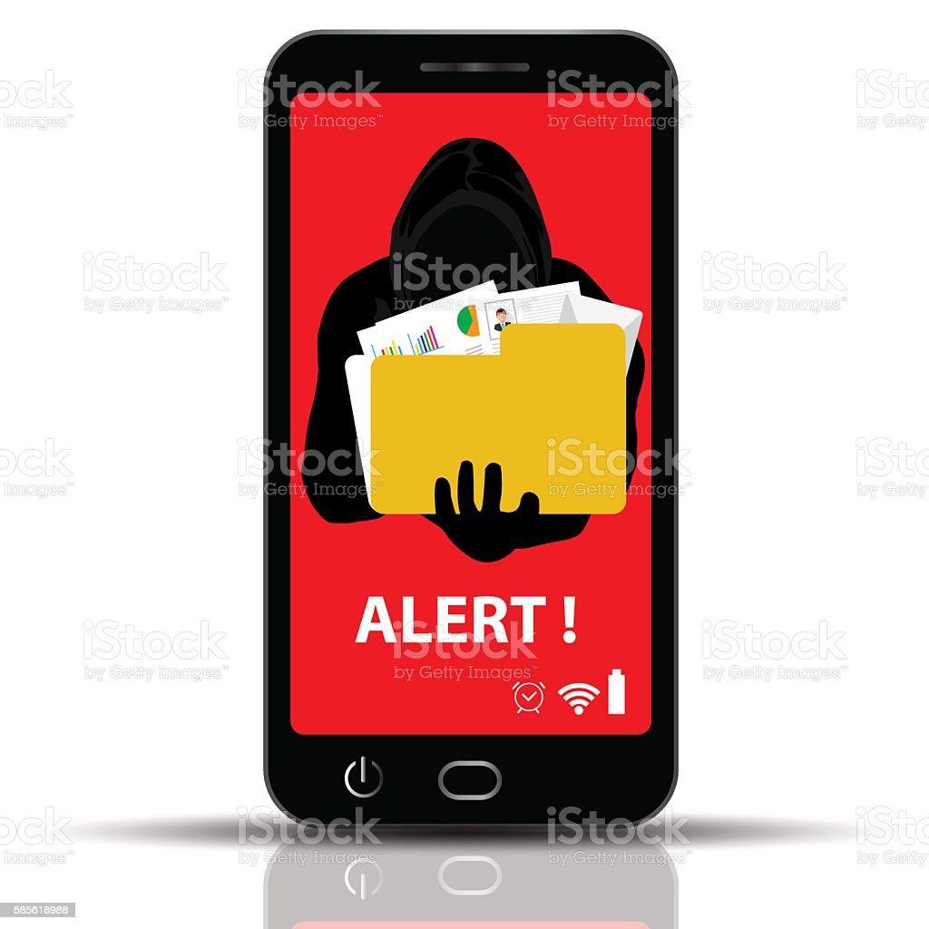 Thief. Hacker stealing field in smart phone Cartoon Vector Illustration. vector art illustration