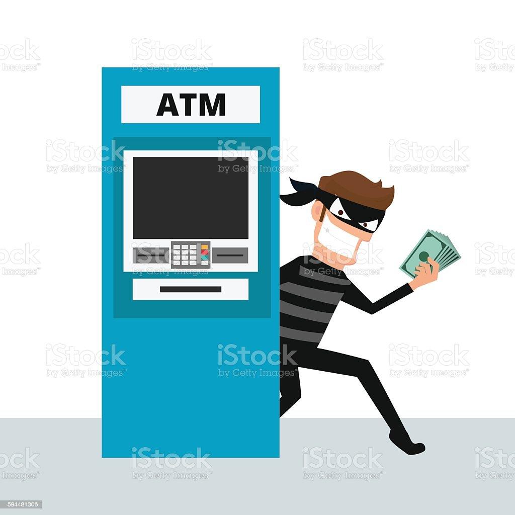Thief. Hacker stealing money from ATM machine. vector art illustration