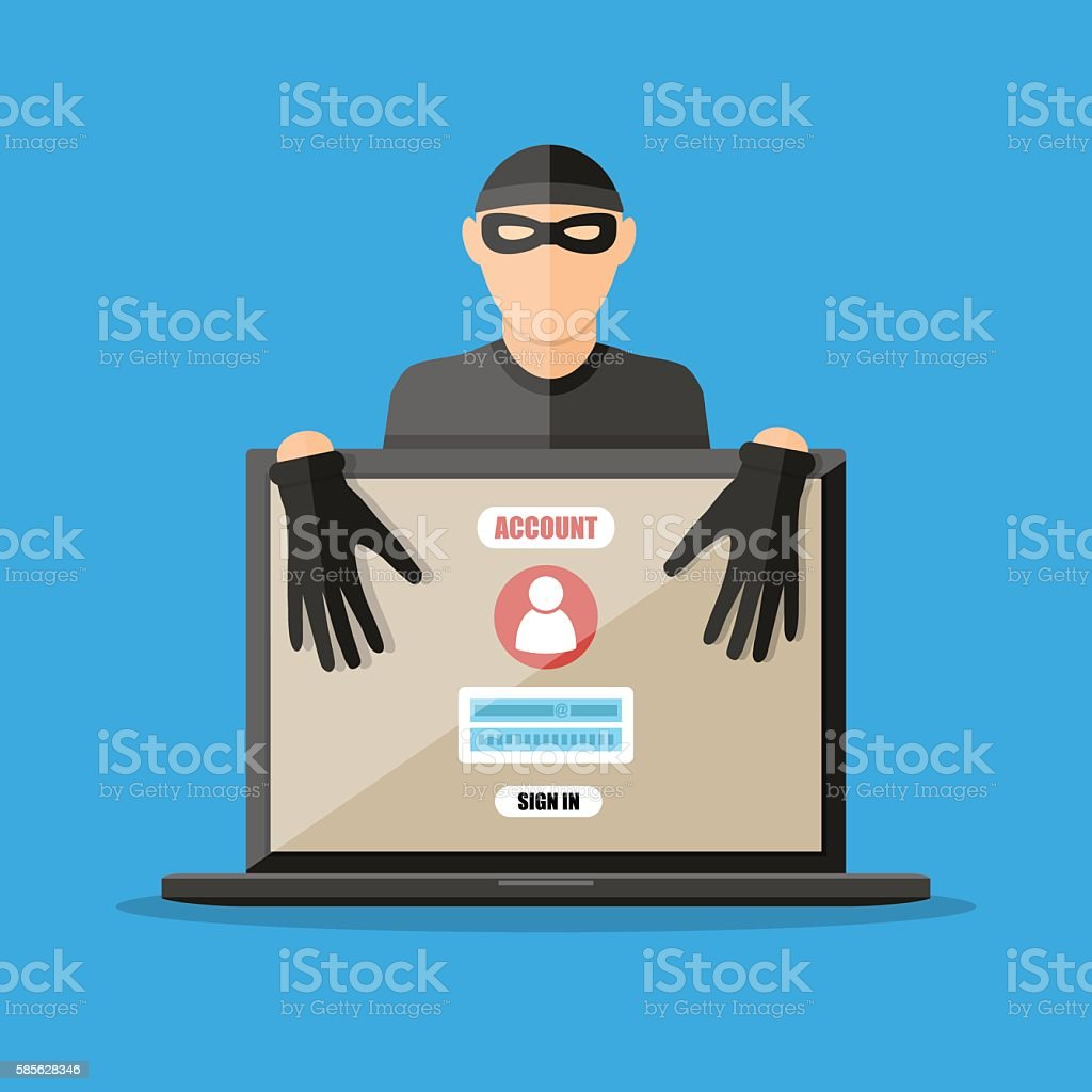 Thief hacker stealing passwords from laptop vector art illustration