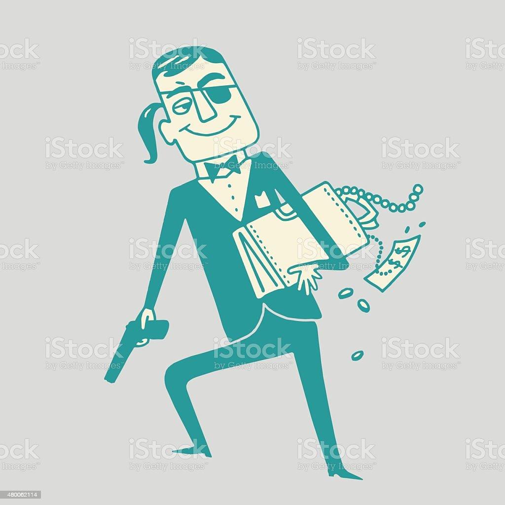 Thief Holding Briefcase vector art illustration