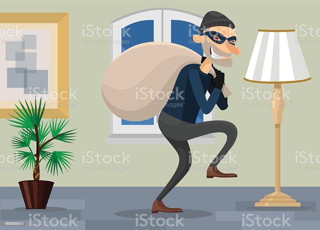Thief in room vector flat illustration vector art illustration